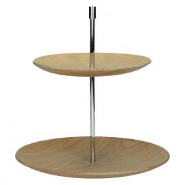 MIYUKI - Cake stand 2 plateaus - hout multiplex - naturel - Ø25xh26 cm
