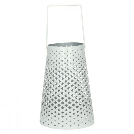 AOMORI - Lantaarn - geperforeerd metaal - wit - S - Ø12,5-18xh26 cm