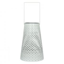 AOMORI - Lantern - perforated iron - white - M - Ø13,50-20xh32 cm