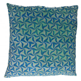 AFSHIN - cushion - chambray/ velvet - blue/ silver/ mint - L - 60x60cm