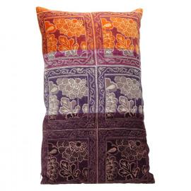 BEHRANG - kussen - chambray/ fluweel - oranje/ oud roze / paars - 30x50cm