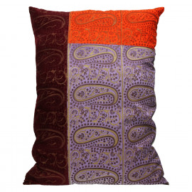 CYRUS - cushion - chambray/ velvet - orange/ lilac/ burgondy - 50x70cm