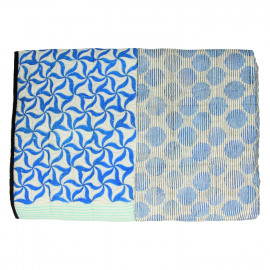 JAHANDAR - plaid - katoen - blauw/ munt/ ecru - 130x170cm