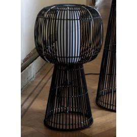 IYO - staanlamp - metaal/ bamboe/ pvc - zwart & wit - 54x54x120cm
