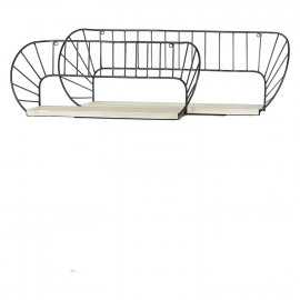GRAPHIC - set of 2 shelves - metal/pawlonia - antique zinc/natural - 78,5x23,5x29 cm