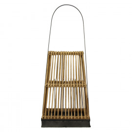 PUQI - lantern - bamboo/plywood/metal - natural - M - 25x25xh60 cm
