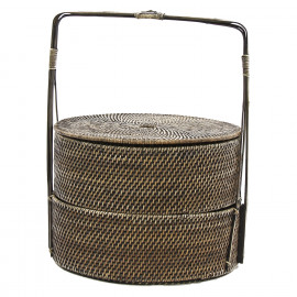 FU'AN - round basket with handle - rattan/bamboo - natural - Ø42xh56 cm