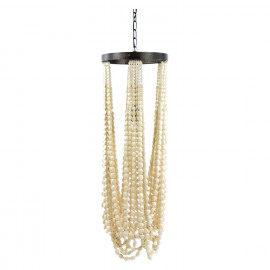 BE CRAZY - hanging lamp - pawlonia/metal - E27 - natural/pewter - L - Ø33xh203 cm