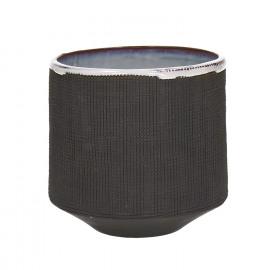 TENDO - flowerpot - stoneware - smoke - L - Ø14,5xh13,5