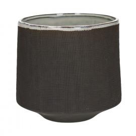 TENDO - flowerpot - stoneware - smoke - XL - Ø17,5xh16,5