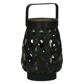 MIYAKO - lantaarn - bamboe - zwart/ groen - S - 12,5x12,5x18cm