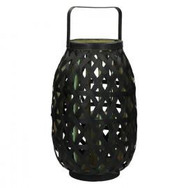 MIYAKO - lanterne - bambou - noir/ vert - M - 26,5x26,5x41cm