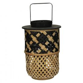 AOMORI - lantaarn - bamboe - naturel/ zwart - M - 23,5x23,5x34cm