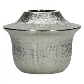 YÔRI - vase - céramique - argent - M - DIA 20 x H 15,5cm