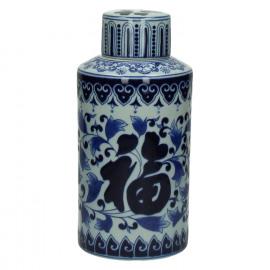 YAN-YAN - pot met deksel - porcelein - wit/blauw - Ø14xh30