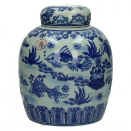 KOÏ - pot met deksel - porcelein - wit/blauw - Ø17xh21