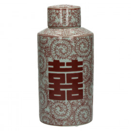 LU PAN - cannister w/lid - porcelain - white/red - Ø14xh30