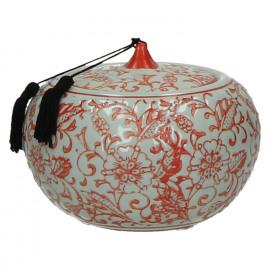 LIU - pot met deksel - porcelein - wit/rood - Ø13xh11,5