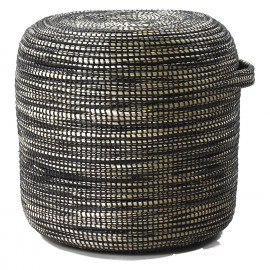 TERRA NOVA - stool - seagrass/pvc/metal - natural/black - Ø42xh42 cm
