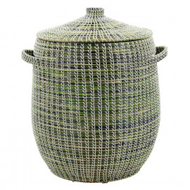 ADARIO - basket with lid - seagrass/PVC - natural/lightblue - Ø45xh62 cm