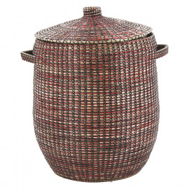 ADARIO - mand met deksel - zeegras/PVC - naturel/rood - Ø45xh62 cm