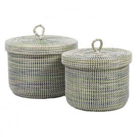 ADARIO - set van 2 manden met deksel - zeegras/pvc - naturel/lichtblauw - L:Ø37xh35 cm  S:Ø33xh33 cm