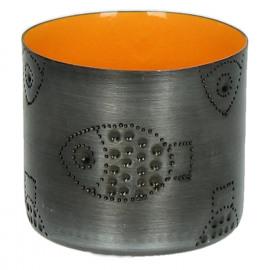 TIGELA - bowl - metal/enamel - orange - fish - S - Ø8xh7,5cm