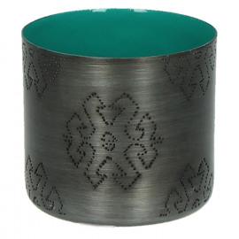 TIGELA - bowl - metal/enamel - petrol - fish - S - Ø8xh7,5cm