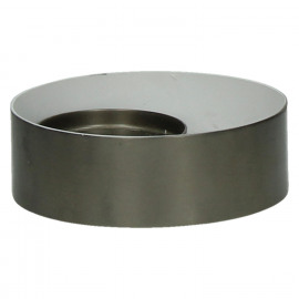 GHJORNU - kaarsenhouder - metaal - tin/wit - Ø15xh5 cm