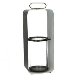GHJORNU - lantaarn - metaal - tin/wit - L - 15x12xh38 cm
