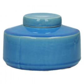 MATCHA - pot met deksel - keramiek - inktblauw - S - Ø15xh10
