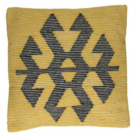 NATIVE - Cushion w/Native Pattern - Wool & Cotton - Yellow/Black 45x45cm