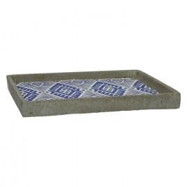 CHEYENNE - dienblad - keramiek - blauw - 30x30xh3 cm