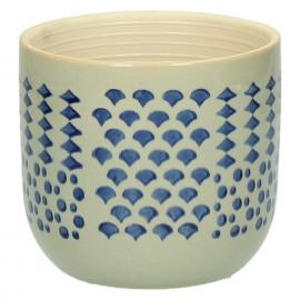 DOMBURG - cache pot - céramique - bleu - S - Ø11,5xh10,5 cm