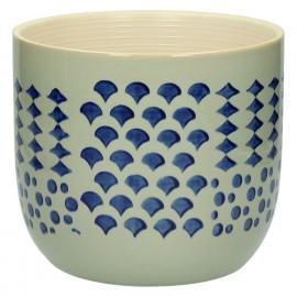 DOMBURG - cache pot - céramique - bleu - L - Ø19,5xh17,5 cm
