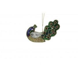 CRAZY - pauw hanger - velours - groen - 14x8 cm