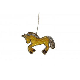 CRAZY - unicorn hanger - velvet - yellow - 12x8 cm
