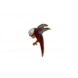 CRAZY - parrot hanging - velvet - red - 16x11 cm