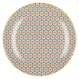 KASHGAR - dessert plate  - porcelain - orange - D21,5