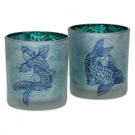HONSHU - Set 2 T/light w/ japanese fishes - Glass - Dia 7,3x8 cm