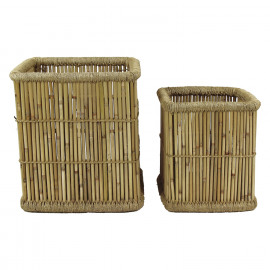 COLONIAL - set/2 paniers - bambou - L 36/46 x W 36/46 x H 40/50 cm - naturel