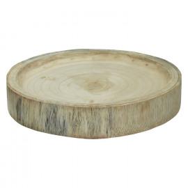 PURE - bord - paulownia hout - naturel - M - Ø30xh5 cm