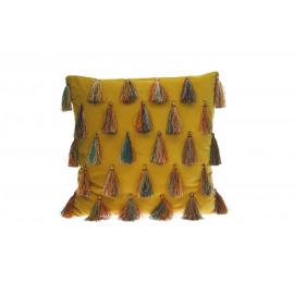 CIRQUE - deco kussen - velours 100% katoen - geel - 45x45 cm