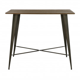 TILO - table bar - métal / bambou - L 120 x W 60 x H 105 cm
