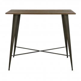 TILO - bartafel - metaal / bamboe - L 120 x W 60 x H 105 cm