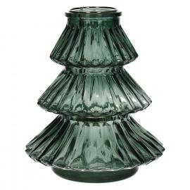 CARLITO - windlicht - glas - groen - M - Ø16xh18 cm