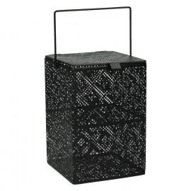 KUBIKO - lantaarn - glas/metaal - zwart - M - 12x12xh18 cm