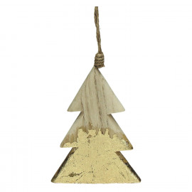 CRAFT - suspension de noël - bois - L 7 x W 1 x H 11,5 cm - naturel