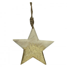 CRAFT - suspension de noël - bois - L 9,5 x W 1 x H 9,5 cm - naturel