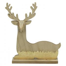 CRAFT - hert - hout - naturel/goud - 23x5xh26,5 cm